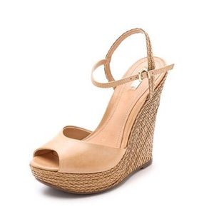 Nude wedges sandals size 8